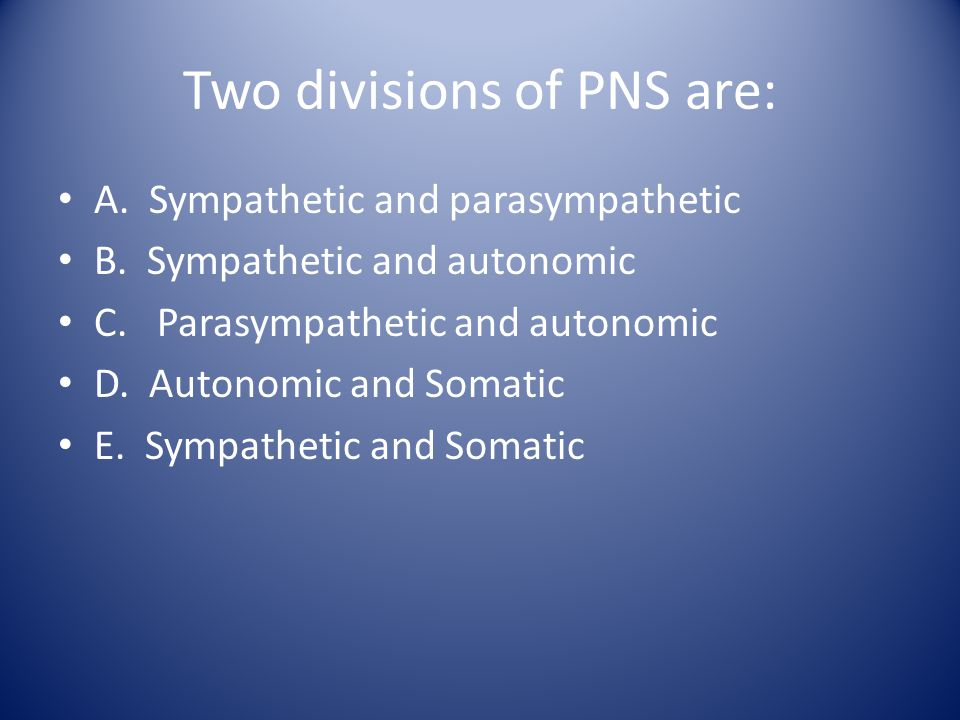 Two divisions of PNS are: A. Sympathetic and parasympathetic B. Sympathetic and autonomic C. Parasympathetic and autonomic D. Autonomic and Somatic E.