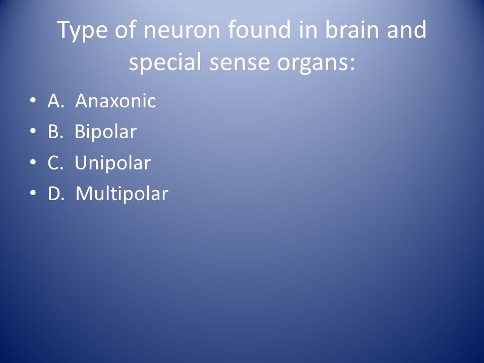 Type of neuron found in brain and special sense organs: A. Anaxonic B. Bipolar C. Unipolar D. Multipolar