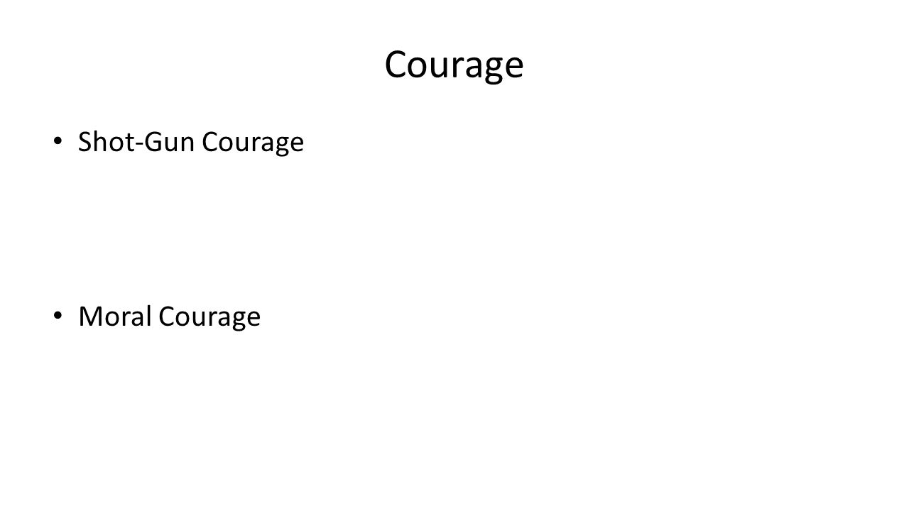 Courage Shot-Gun Courage Moral Courage