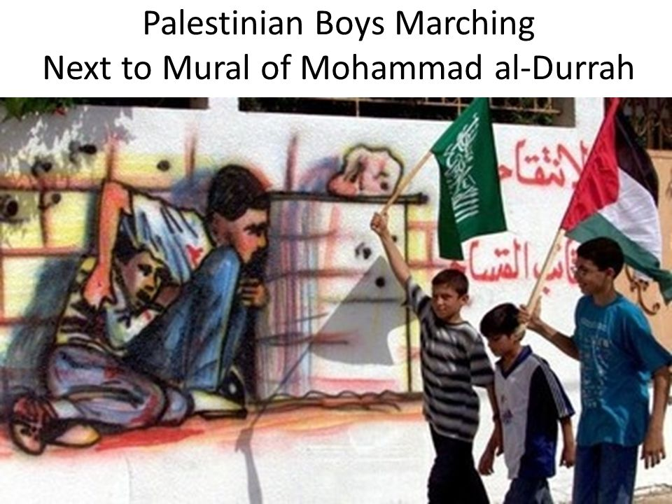 Palestinian Boys Marching Next to Mural of Mohammad al-Durrah