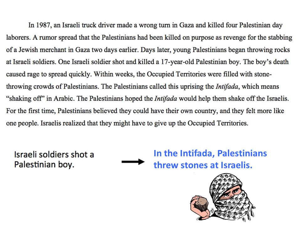 In the Intifada, Palestinians threw stones at Israelis.
