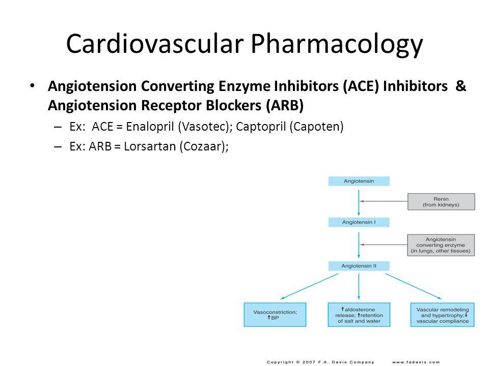 Cardiovascular Pharmacology Angiotension Converting Enzyme Inhibitors (ACE) Inhibitors & Angiotension Receptor Blockers (ARB) – Ex: ACE = Enalopril (Vasotec); Captopril (Capoten) – Ex: ARB = Lorsartan (Cozaar); Lobert11