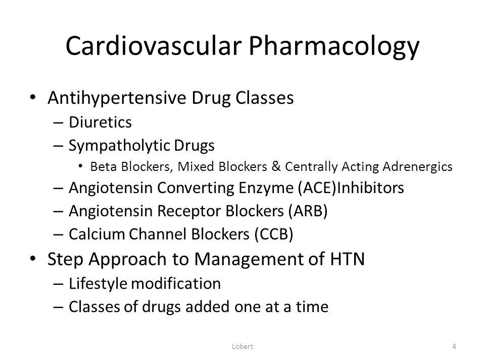 Cardiovascular Pharmacology Diuretics – Thiazide Diuretics Hydrocholorothiazide Chlorothiazide (Diuril) – Loop Diuretics Bumetanide (Bumex) Furosemide (Lasix) – Potassium Sparing Diuretics Spironolactone (Aldactone) Triamterene (Dyrenium) Lobert5