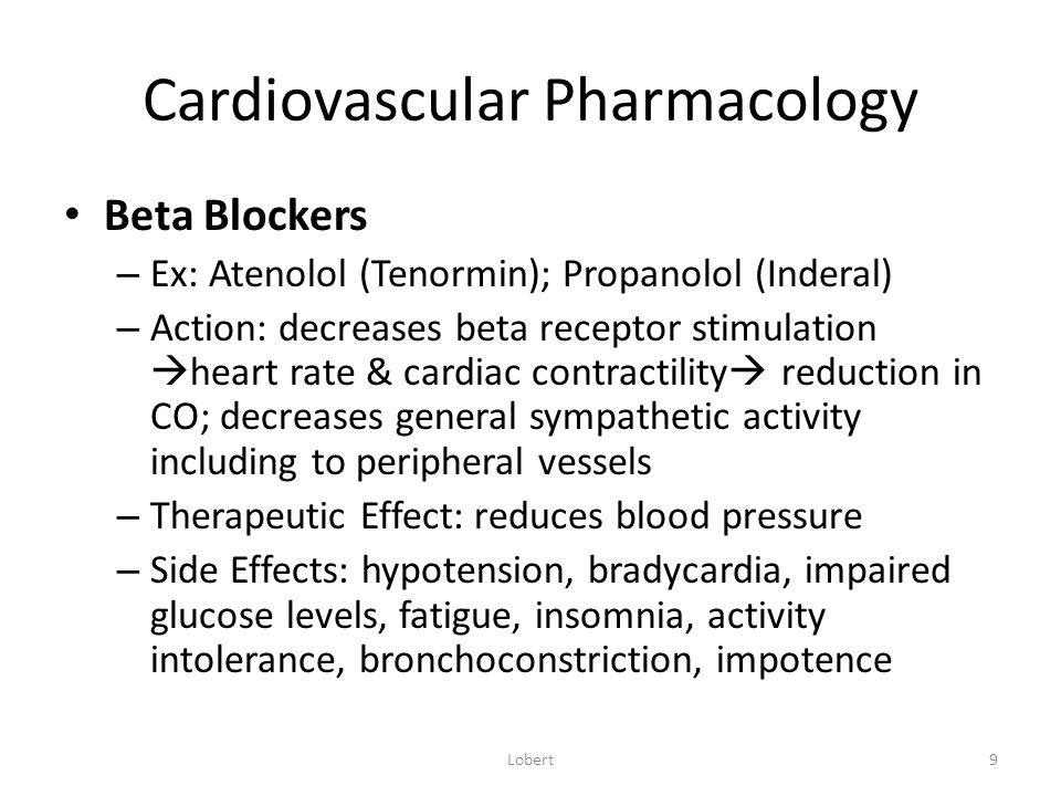 Cardiovascular Pharmacology Class I Antiarrhythmics – Class I: Sodium Channel Blockers Subclass A: Procainamide (Pronestyl) Subclass B: Lidocaine Sub Class C: Propafenone (Rythmol) – Action: alter depolarization and repolarization of cardiac cells – Therapeutic Effect: primary treatment of ventricular arrhythmias – Side Effects: increased arrhythmias; dizziness; visual disturbances Lobert20