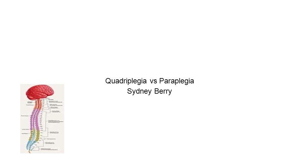 Quadriplegia vs Paraplegia Sydney Berry