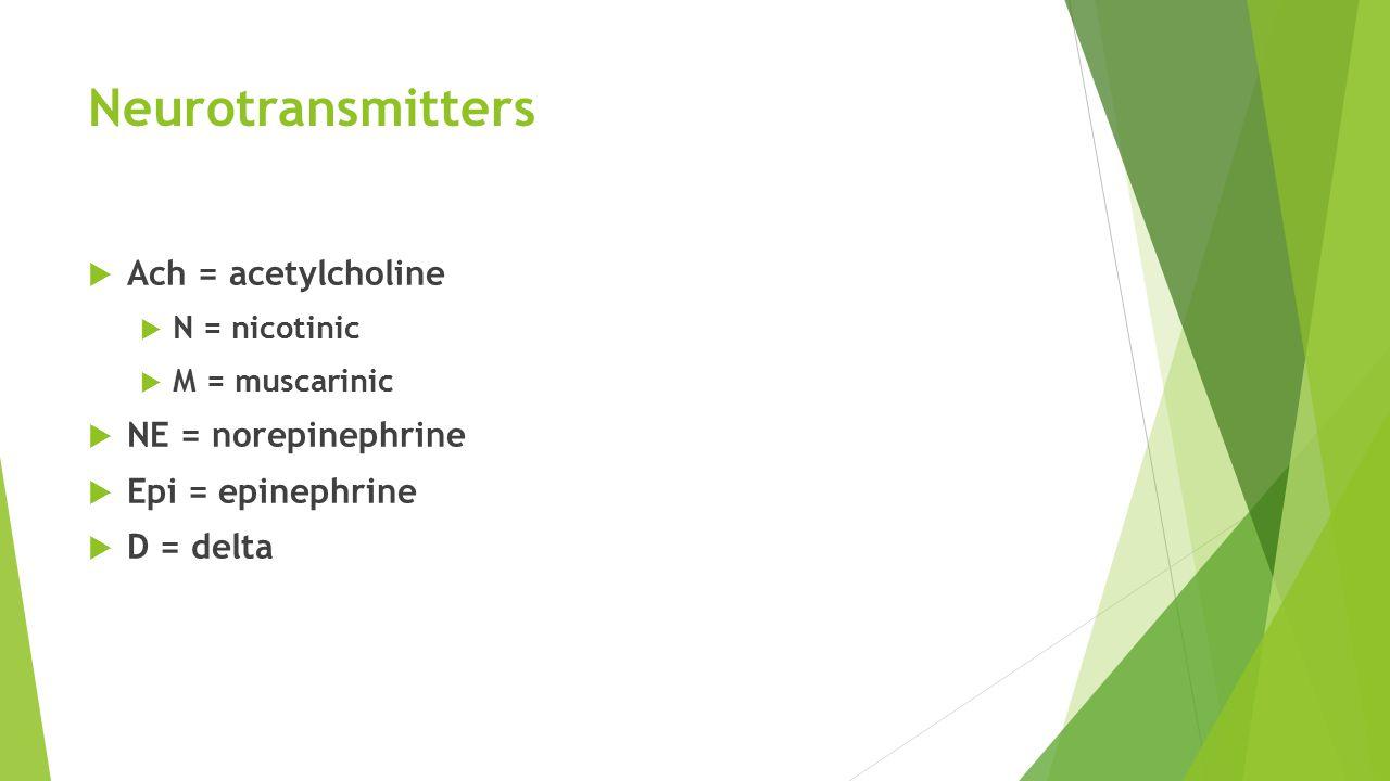 Neurotransmitters  Ach = acetylcholine  N = nicotinic  M = muscarinic  NE = norepinephrine  Epi = epinephrine  D = delta