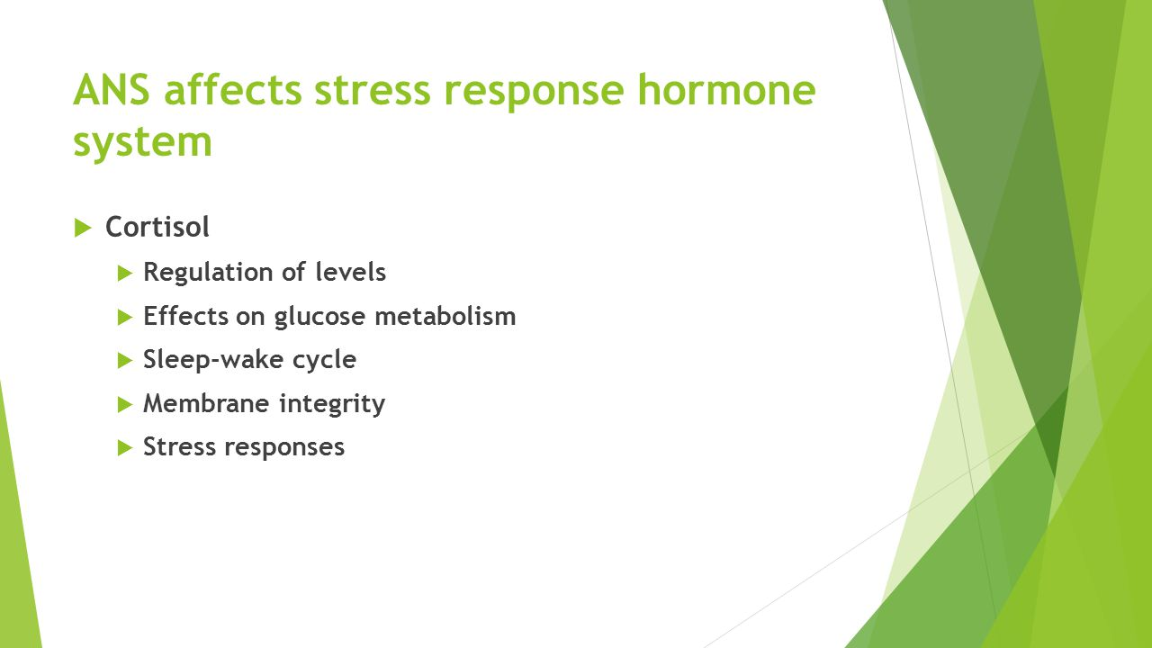 ANS affects stress response hormone system  Cortisol  Regulation of levels  Effects on glucose metabolism  Sleep-wake cycle  Membrane integrity  Stress responses