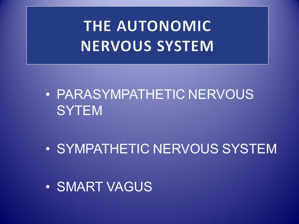 PARASYMPATHETIC NERVOUS SYTEM SYMPATHETIC NERVOUS SYSTEM SMART VAGUS