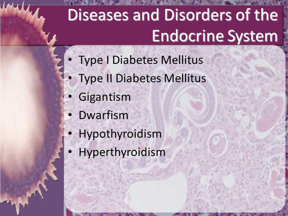 Diseases and Disorders of the Endocrine System Type I Diabetes Mellitus Type II Diabetes Mellitus Gigantism Dwarfism Hypothyroidism Hyperthyroidism