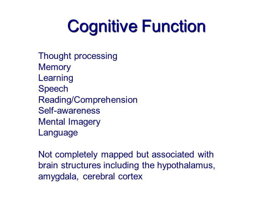 Cognitive Function Thought processing Memory Learning Speech Reading/Comprehension Self-awareness Mental Imagery Language Not completely mapped but associated with brain structures including the hypothalamus, amygdala, cerebral cortex