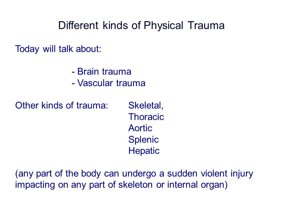 Summary of Lecture Physiological responses to trauma Brain trauma- Types of injury- blunt trauma (coup, contracoup) - Focal brain injury- epidural haematoma - subdural haematoma - Intracerebral haematoma - Diffuse brain injury - Brain cell death Vascular InjuryHow the body responds to hypovolemic shock