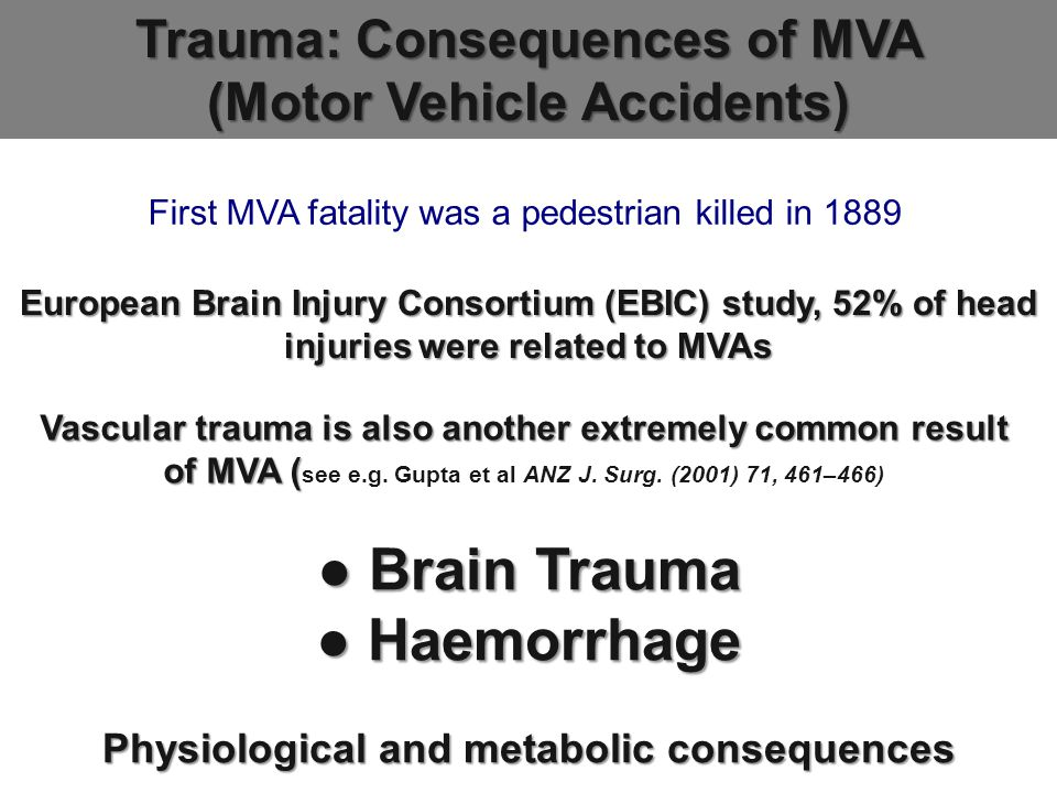 European Brain Injury Consortium (EBIC) study, 52% of head injuries were related to MVAs Trauma: Consequences of MVA (Motor Vehicle Accidents) Vascular trauma is also another extremely common result of MVA ( Vascular trauma is also another extremely common result of MVA ( see e.g.