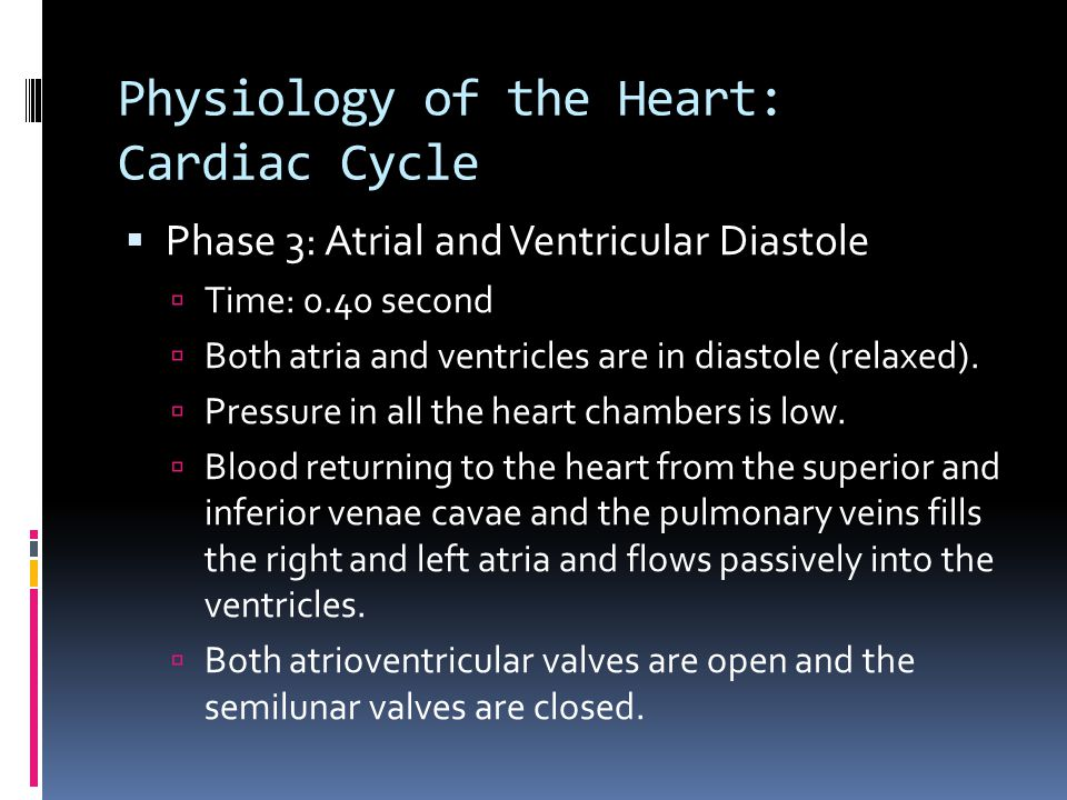 Physiology of the Heart: Cardiac Cycle  Phase 3: Atrial and Ventricular Diastole  Time: 0.40 second  Both atria and ventricles are in diastole (rel