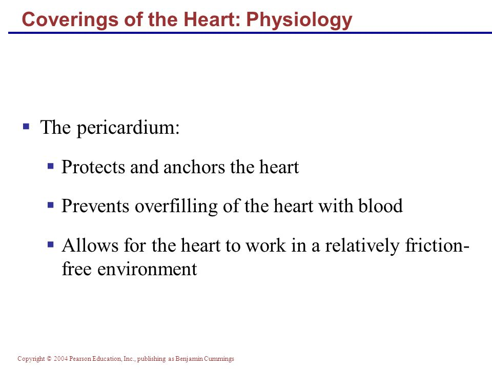 Copyright © 2004 Pearson Education, Inc., publishing as Benjamin Cummings Age-Related Changes Affecting the Heart  Sclerosis and thickening of valve flaps  Decline in cardiac reserve  Fibrosis of cardiac muscle  Atherosclerosis