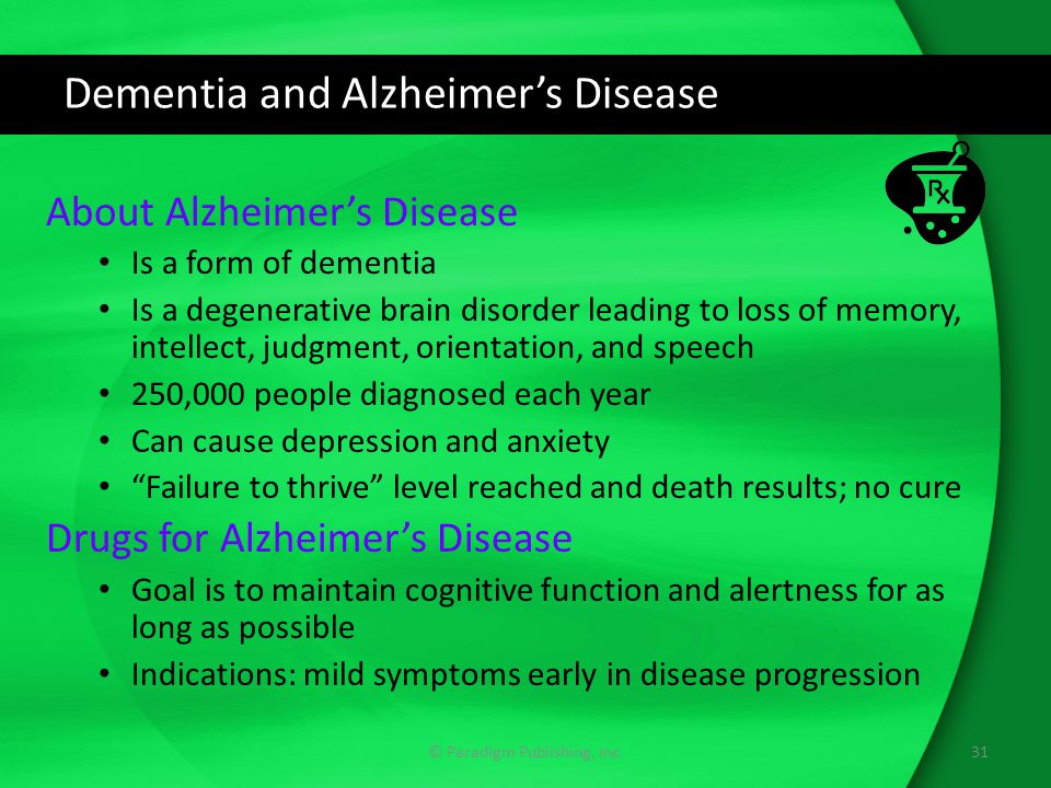 Dementia and Alzheimer's Disease About Alzheimer's Disease Is a form of dementia Is a degenerative brain disorder leading to loss of memory, intellect