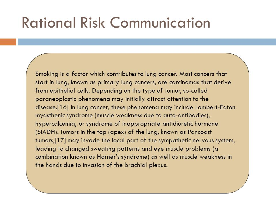 Rational Risk Communication Smoking is a factor which contributes to lung cancer. Most cancers that start in lung, known as primary lung cancers, are