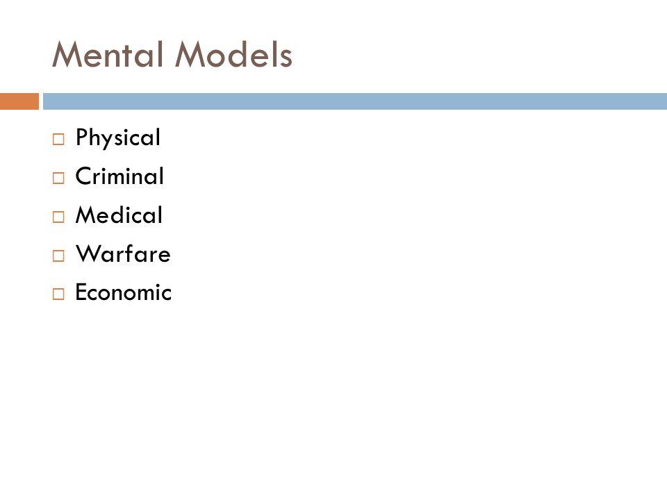 Mental Models  Physical  Criminal  Medical  Warfare  Economic