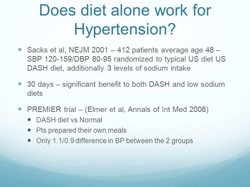 Does diet alone work for Hypertension.