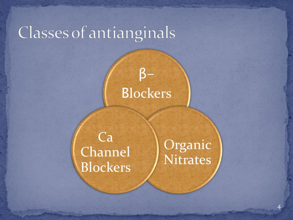β- B lockers Organic Nitrates Ca Channel Blockers 4