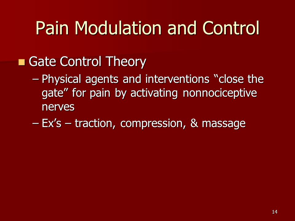 14 Pain Modulation and Control Gate Control Theory Gate Control Theory –Physical agents and interventions close the gate for pain by activating nonnociceptive nerves –Ex's – traction, compression, & massage