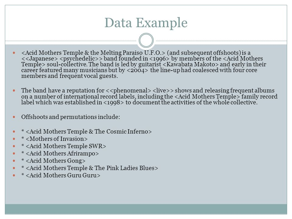 Data Example (and subsequent offshoots) is a > band founded in by members of the soul-collective.