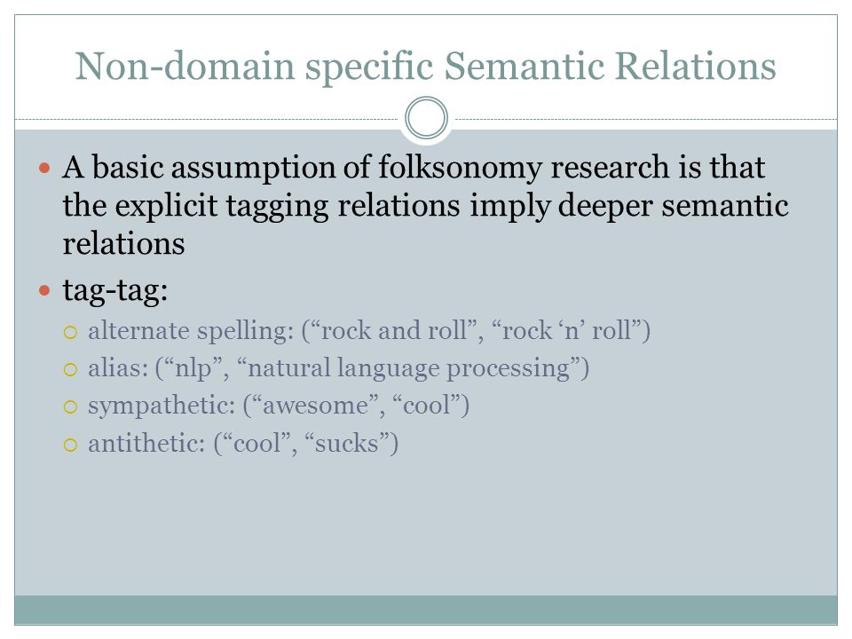 Non-domain specific Semantic Relations A basic assumption of folksonomy research is that the explicit tagging relations imply deeper semantic relations tag-tag:  alternate spelling: ( rock and roll , rock 'n' roll )  alias: ( nlp , natural language processing )  sympathetic: ( awesome , cool )  antithetic: ( cool , sucks )
