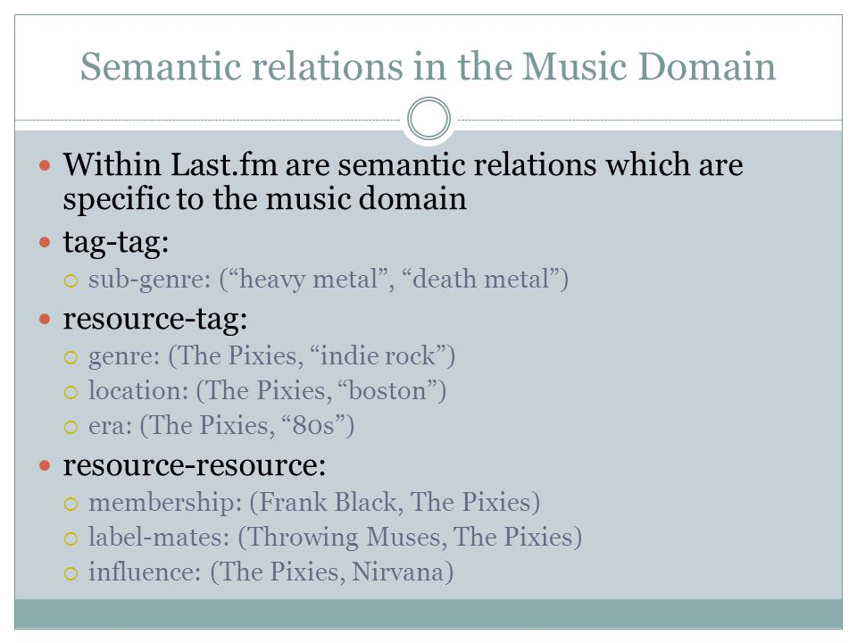 Semantic relations in the Music Domain Within Last.fm are semantic relations which are specific to the music domain tag-tag:  sub-genre: ( heavy metal , death metal ) resource-tag:  genre: (The Pixies, indie rock )  location: (The Pixies, boston )  era: (The Pixies, 80s ) resource-resource:  membership: (Frank Black, The Pixies)  label-mates: (Throwing Muses, The Pixies)  influence: (The Pixies, Nirvana)