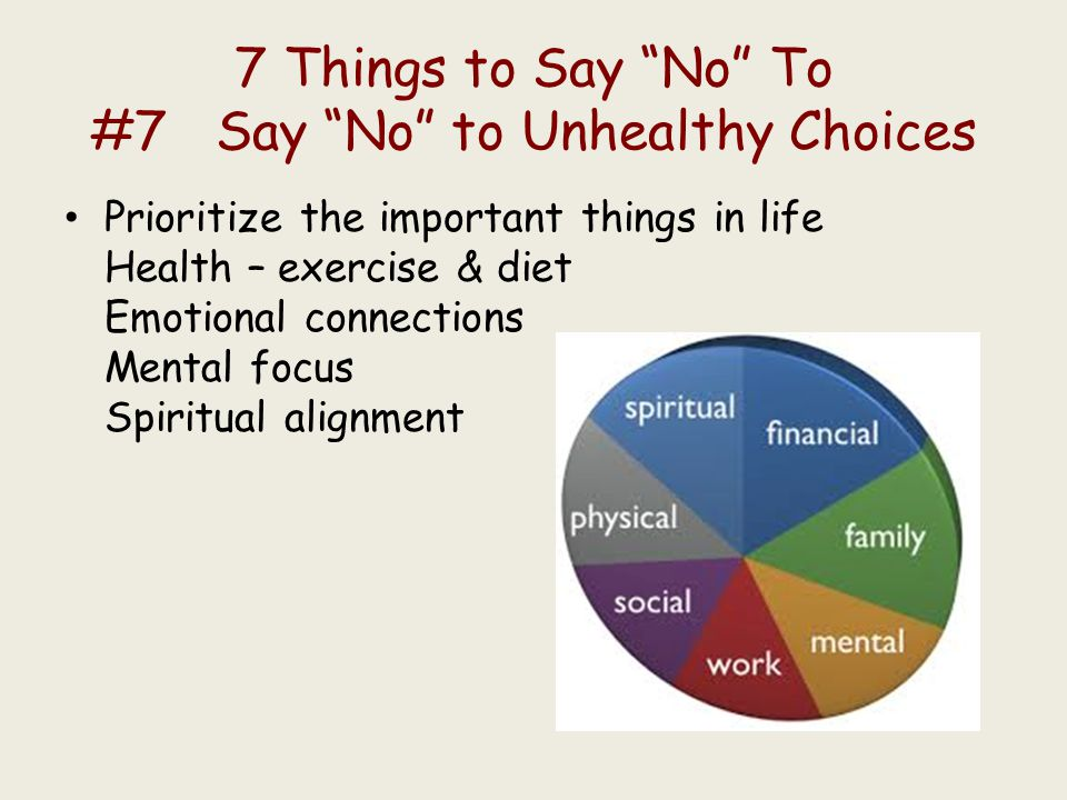 7 Things to Say No To #7 Say No to Unhealthy Choices Prioritize the important things in life Health – exercise & diet Emotional connections Mental focus Spiritual alignment