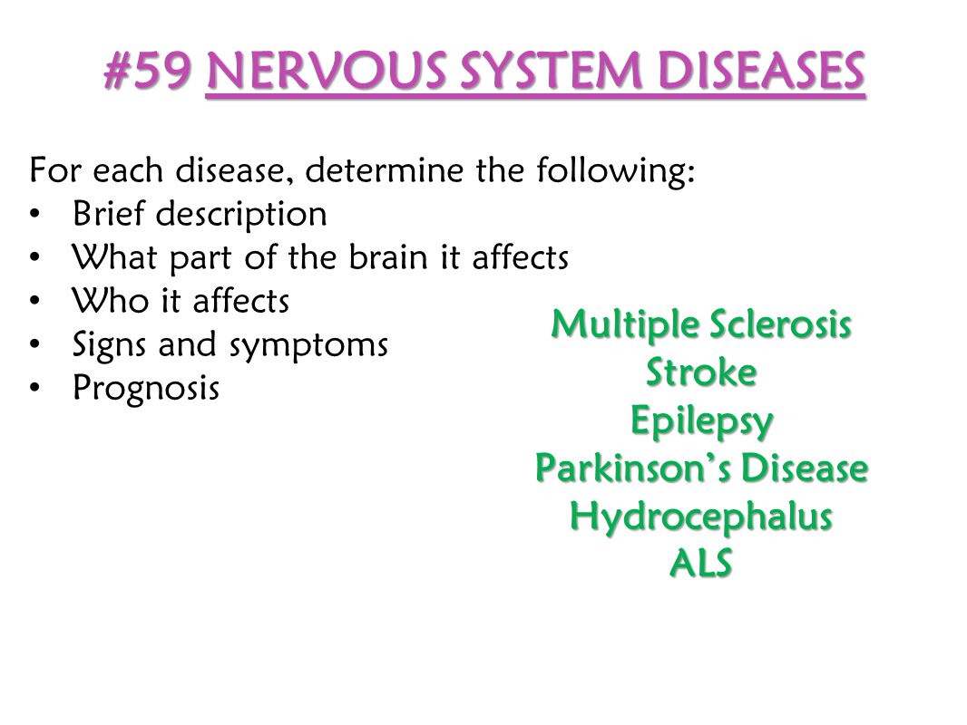 #59 NERVOUS SYSTEM DISEASES For each disease, determine the following: Brief description What part of the brain it affects Who it affects Signs and sy