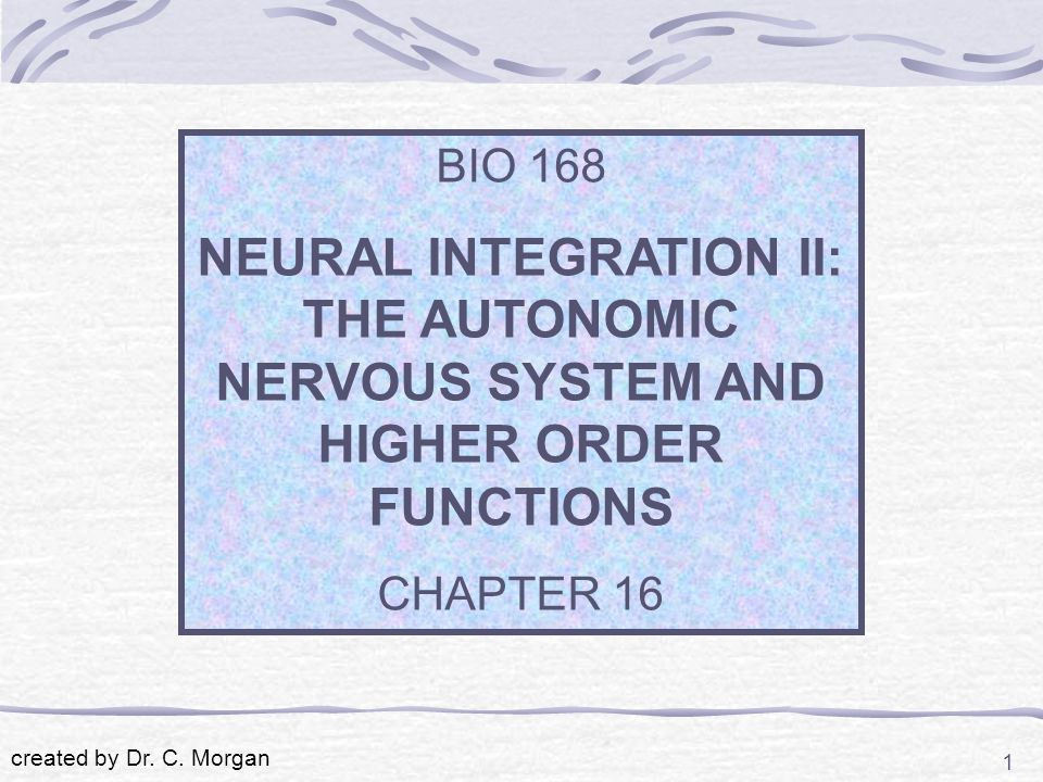 1 BIO 168 NEURAL INTEGRATION II: THE AUTONOMIC NERVOUS SYSTEM AND HIGHER ORDER FUNCTIONS CHAPTER 16 created by Dr.