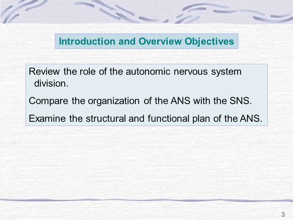 3 Introduction and Overview Objectives Review the role of the autonomic nervous system division. Compare the organization of the ANS with the SNS. Exa
