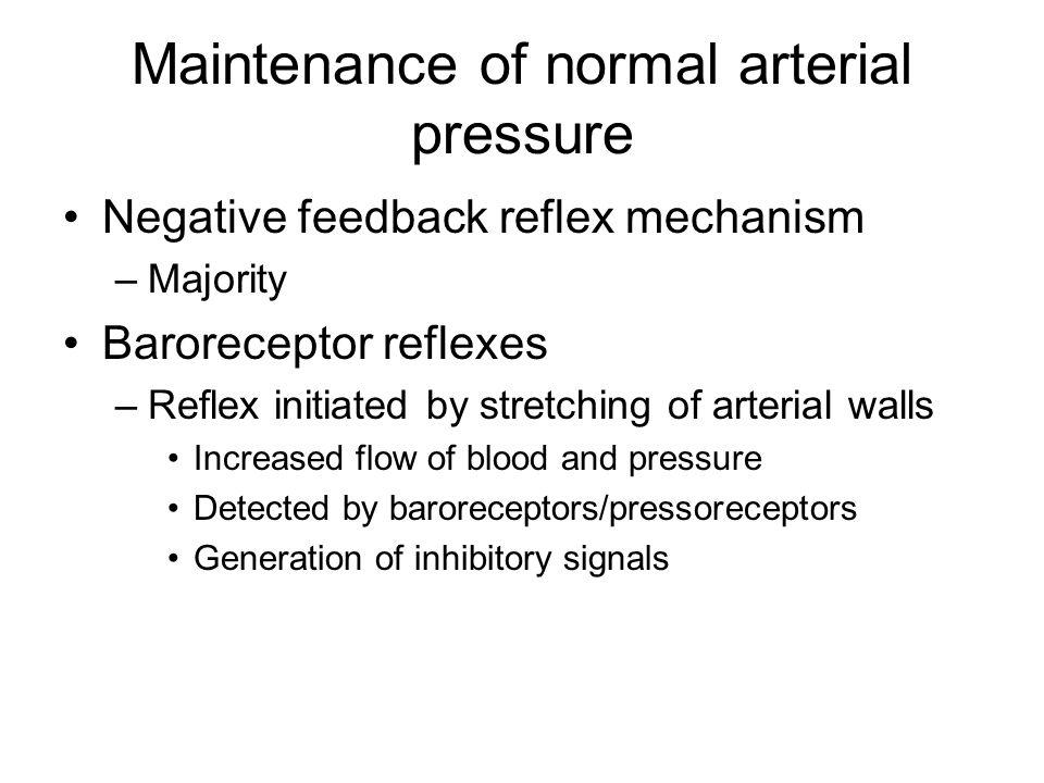 Maintenance of normal arterial pressure Negative feedback reflex mechanism –Majority Baroreceptor reflexes –Reflex initiated by stretching of arterial