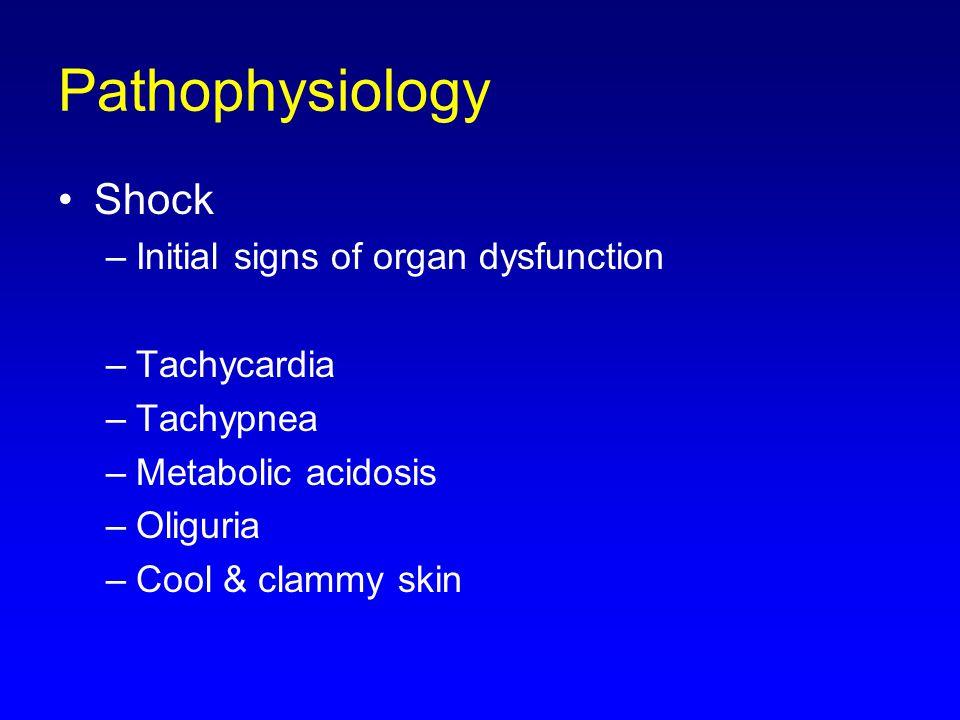 Shock –Initial signs of organ dysfunction –Tachycardia –Tachypnea –Metabolic acidosis –Oliguria –Cool & clammy skin Pathophysiology