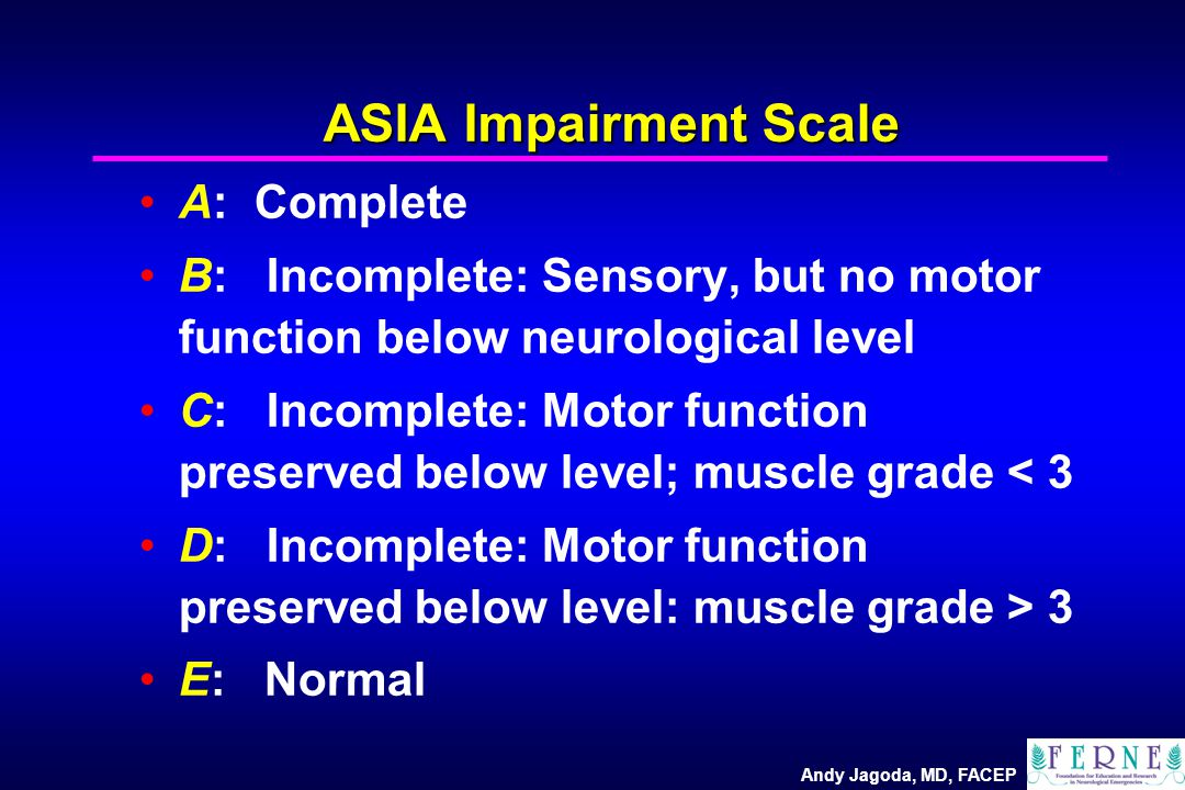 Andy Jagoda, MD, FACEP ASIA Impairment Scale A: Complete B: Incomplete: Sensory, but no motor function below neurological level C: Incomplete: Motor function preserved below level; muscle grade < 3 D: Incomplete: Motor function preserved below level: muscle grade > 3 E: Normal