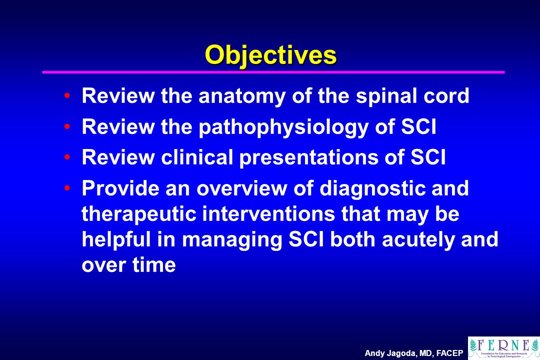 Andy Jagoda, MD, FACEP Objectives Review the anatomy of the spinal cord Review the pathophysiology of SCI Review clinical presentations of SCI Provide an overview of diagnostic and therapeutic interventions that may be helpful in managing SCI both acutely and over time
