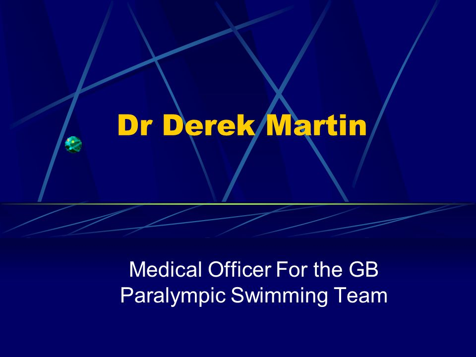 Dr Derek Martin Medical Officer For the GB Paralympic Swimming Team