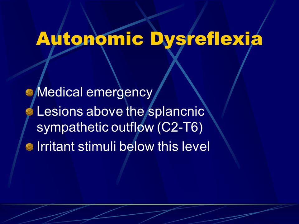 Autonomic Dysreflexia Medical emergency Lesions above the splancnic sympathetic outflow (C2-T6) Irritant stimuli below this level