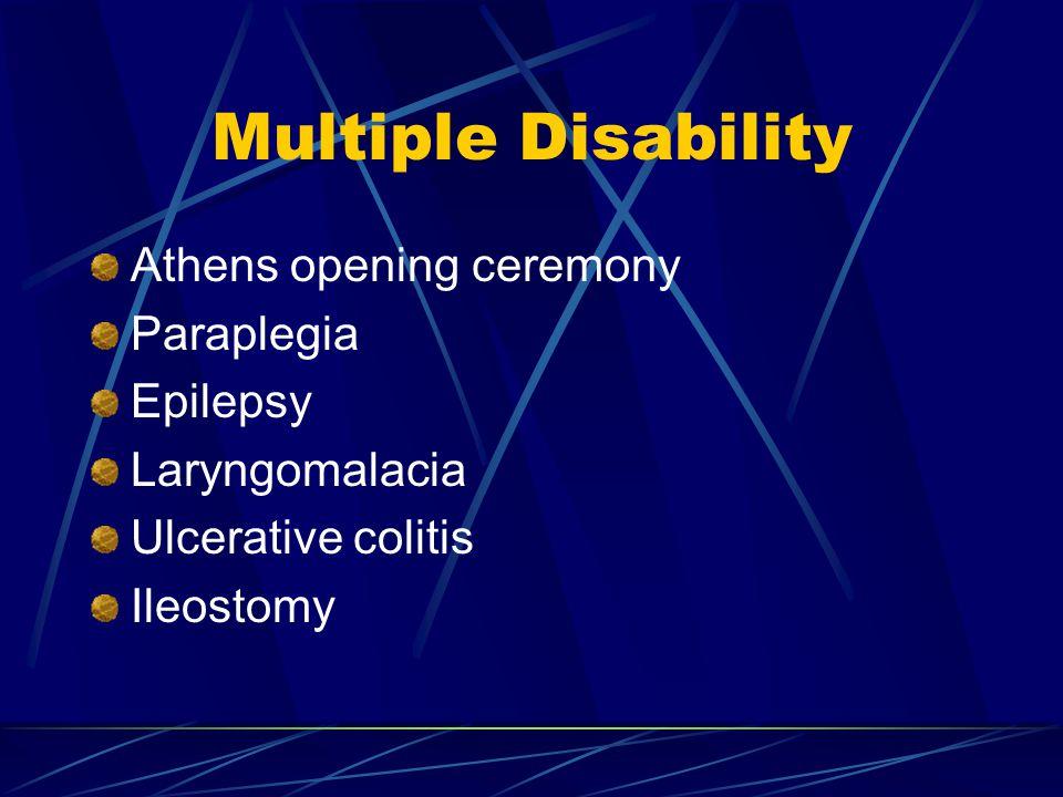 Multiple Disability Athens opening ceremony Paraplegia Epilepsy Laryngomalacia Ulcerative colitis Ileostomy
