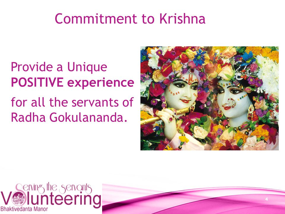 15 Commitment to Krishna Remove all rubbish to the rubbish area, All materials must be stored in their proper area; Always maintain a clear path through the storage area.