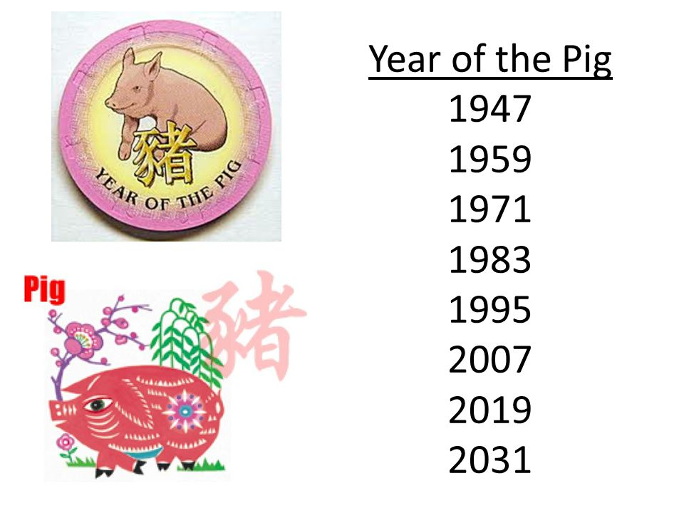 Year of the Pig 1947 1959 1971 1983 1995 2007 2019 2031