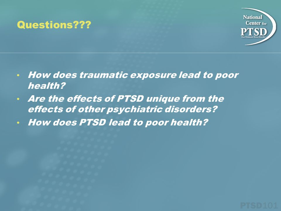 How does traumatic exposure lead to poor health.
