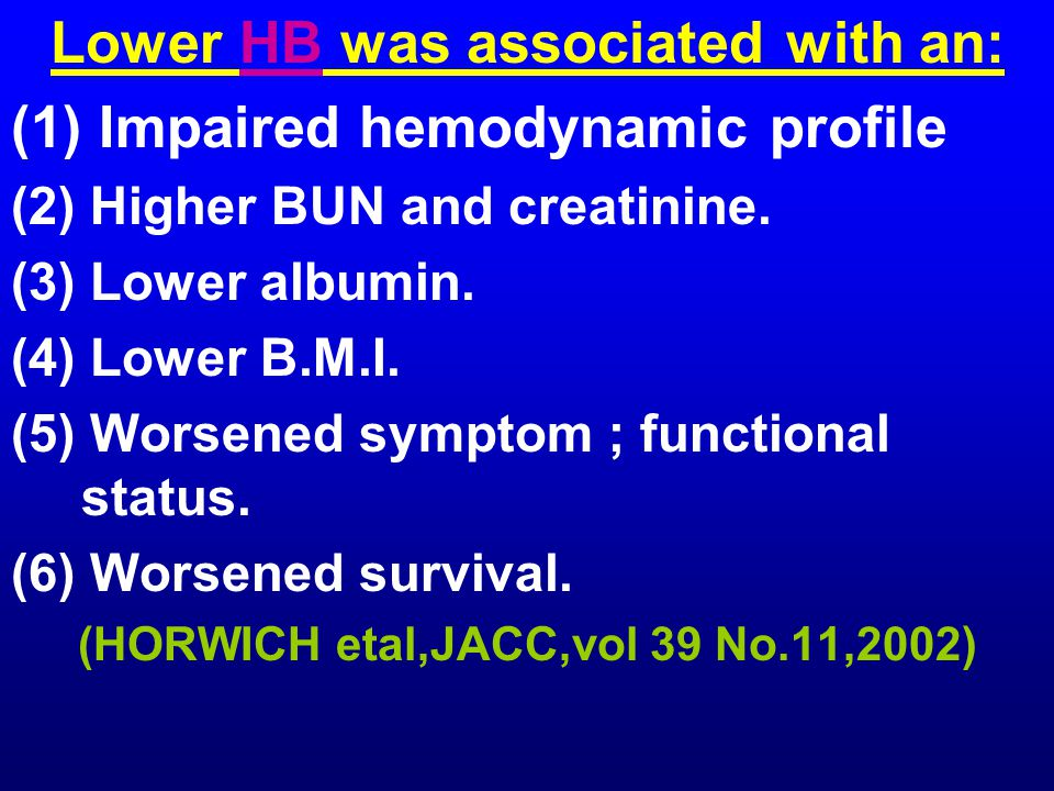 Lower HB was associated with an: (1) Impaired hemodynamic profile (2) Higher BUN and creatinine.
