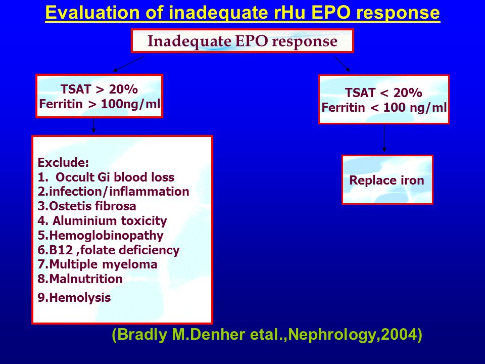 Evaluation of inadequate rHu EPO response (Bradly M.Denher etal.,Nephrology,2004) Inadequate EPO response TSAT < 20% Ferritin < 100 ng/ml Replace iron TSAT > 20% Ferritin > 100ng/ml Exclude: 1.