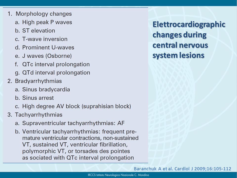 Elettrocardiographic changes during central nervous system lesions Baranchuk A et al.