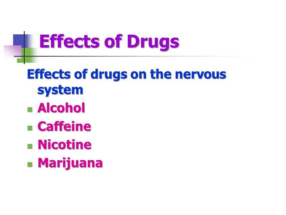 Effects of Drugs Effects of drugs on the nervous system Alcohol Alcohol Caffeine Caffeine Nicotine Nicotine Marijuana Marijuana