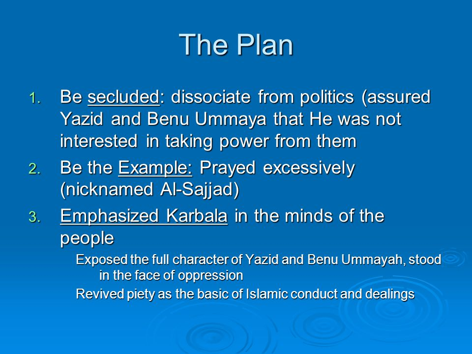 The Plan 1. Be secluded: dissociate from politics (assured Yazid and Benu Ummaya that He was not interested in taking power from them 2. Be the Exampl