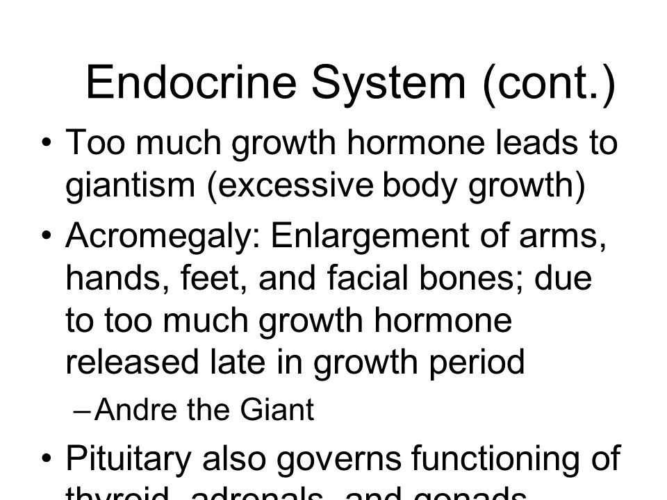 Endocrine System (cont.) Too much growth hormone leads to giantism (excessive body growth) Acromegaly: Enlargement of arms, hands, feet, and facial bo
