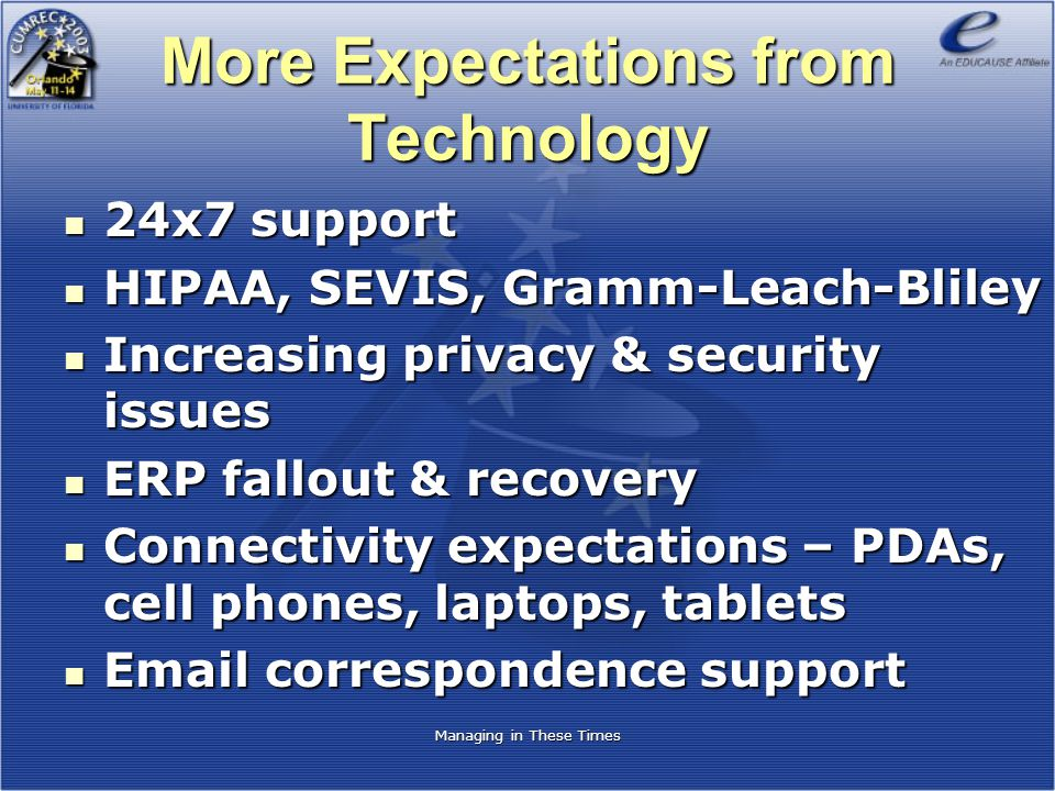 More Expectations from Technology 24x7 support 24x7 support HIPAA, SEVIS, Gramm-Leach-Bliley HIPAA, SEVIS, Gramm-Leach-Bliley Increasing privacy & sec