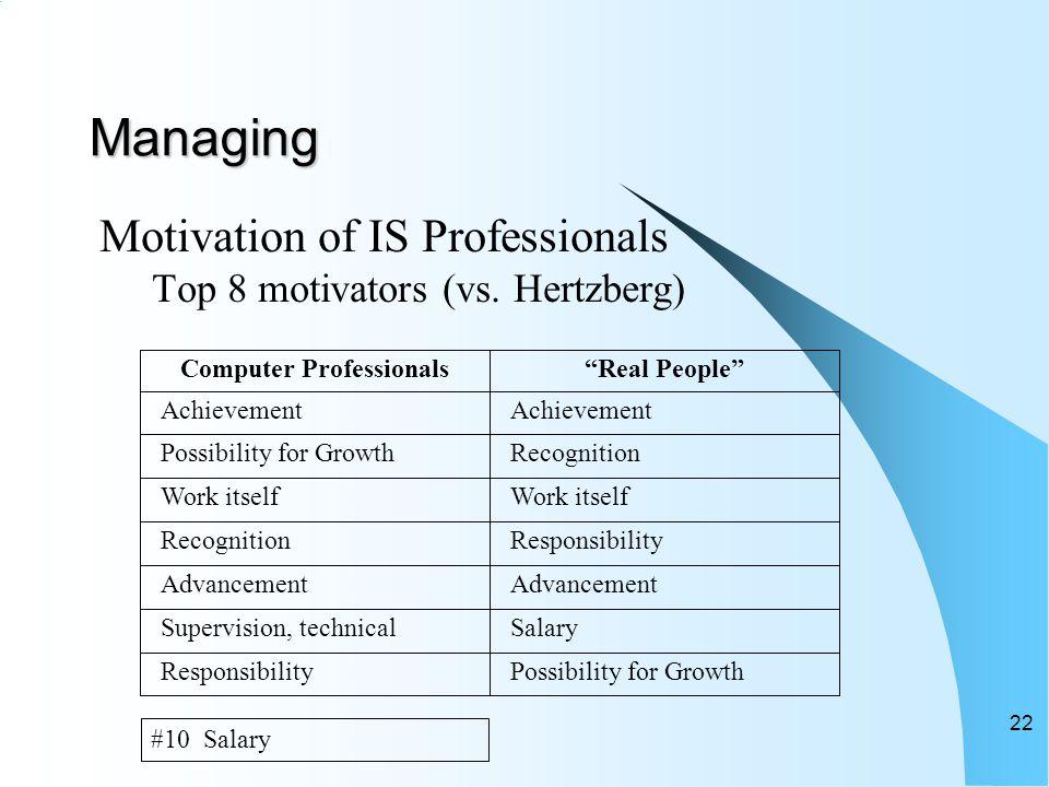 Managing Motivation of IS Professionals Top 8 motivators (vs.