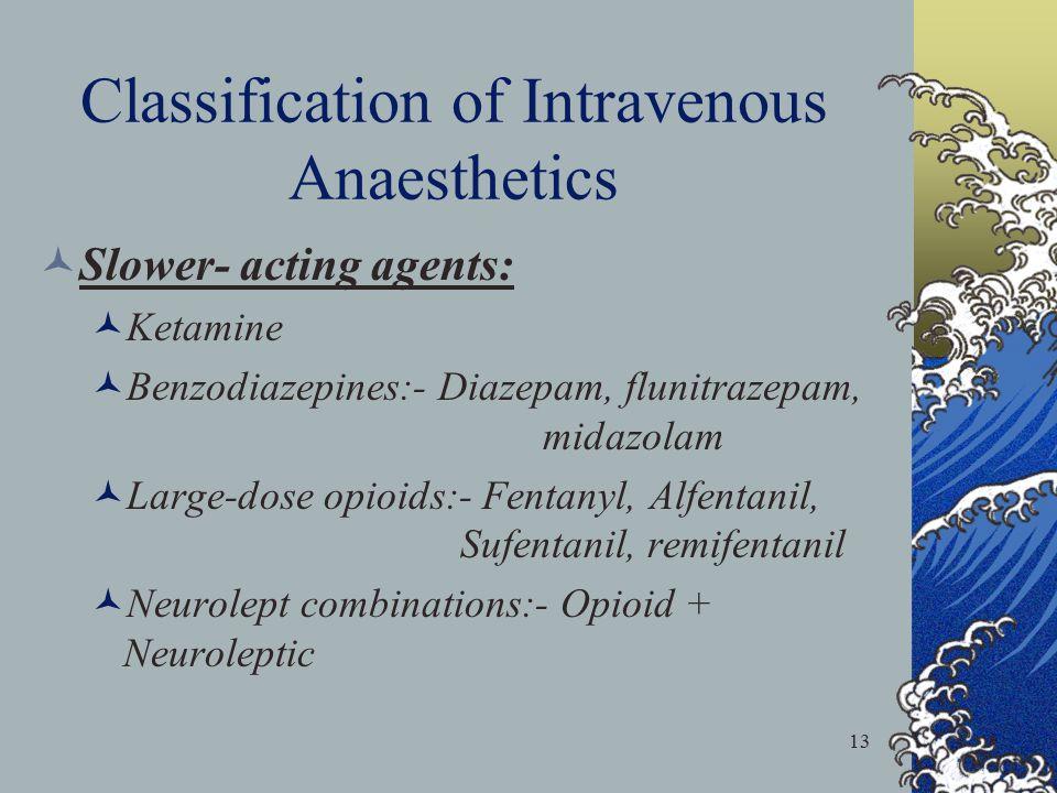 13 Classification of Intravenous Anaesthetics Slower- acting agents: Ketamine Benzodiazepines:- Diazepam, flunitrazepam, midazolam Large-dose opioids: